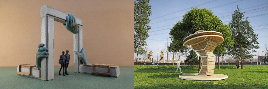 Kunstwerk Steigerpark, links Jonas Wijtenburg, rechts Rob Sweere